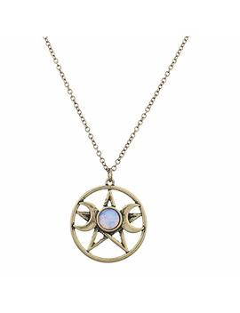 Lux Accessories Double Crescent Moon Pentagram Blue Opal Necklace by Lux+Accessories