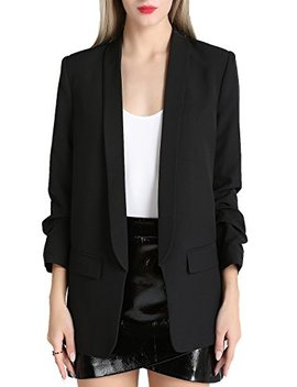 Zevrez Women's Work Jacket 3/4 Ruched Sleeve Open Front Casual Office Blazer by Zevrez