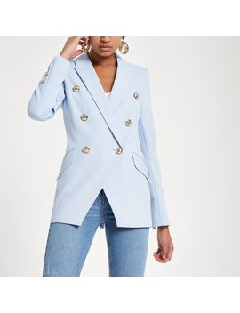 Light Blue Double Breasted Tux Jacket by River Island