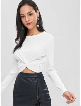 Twist Front Ribbed Tee   White L by Zaful
