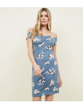 Blue Floral Print Bardot Bodycon Dress by New Look