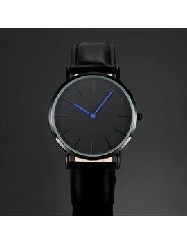Mens Quartz Analog Wrist Watch Black Dial Blue Hands Simple Leather Strap Man by Ess