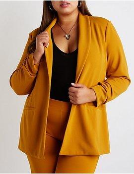 Plus Size Longline Open Front Blazer by Charlotte Russe