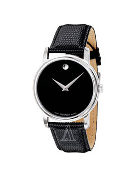 Movado Museum Black Dial Steel Black Leather Mens & Womens Watch 2100002 2100004 by Movado