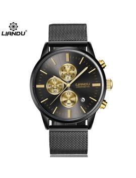 Liandu Men's Chronograph Black Gold Stainless Steel Calendar Watch Usa Seller W4 by Liandu