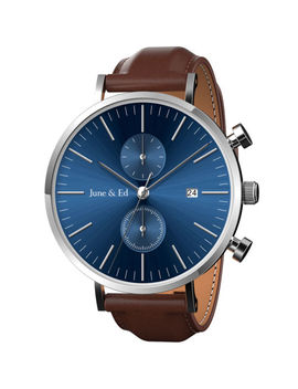June & Ed Quartz Stainless Steel Mens Gents Watch Sapphire Crystal Dial Window by June & Ed