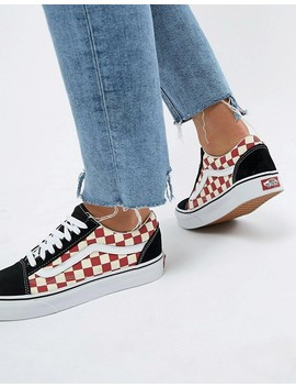 Vans   Old Skool   Baskets Motif Damier   Noir Et Rouge by Vans