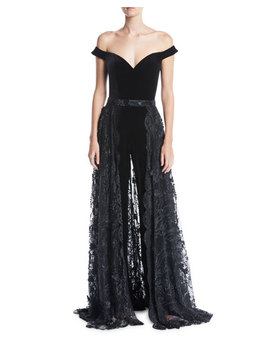 Off The Shoulder Velvet Jumpsuit W/ Lace Overskirt by Jovani