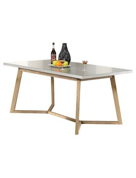 Rosetta Dining Table   Metal   Like And Antique Beige   Acme by Shop All Acme Furniture