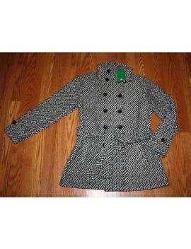 Nwt Womens Ike Behar Double Breasted Soft Fleece Belted Jacket Black White Sz M by Ike Behar