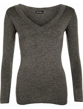 Wear All New Ladies V Neck Stretch Womens Long Sleeve Top 8 14 by Wear All