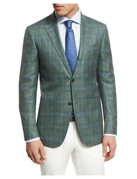 Plaid Three Button Sport Coat, Lime by Neiman Marcus