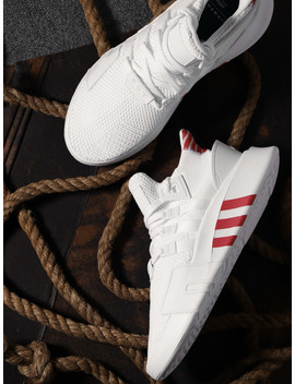 Adidas Originals Men White Eqt Bask Adv Woven Design Sneakers by Adidas Originals