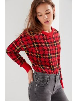 Uo Andi Plaid Crewneck Sweater by Urban Outfitters