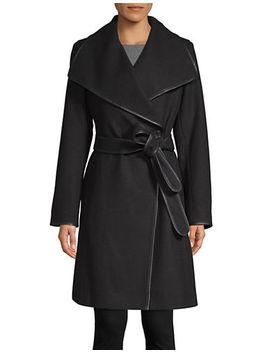 Tie Waist Wool Blend Coat by Dkny