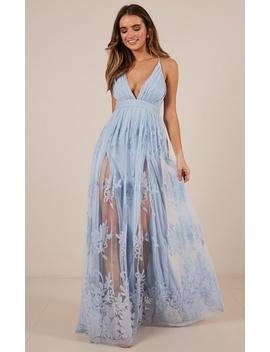 Promenade Maxi Dress In Blue by Showpo Fashion