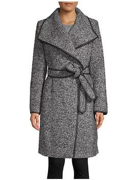 Self Tie Wool Blend Coat by Dkny