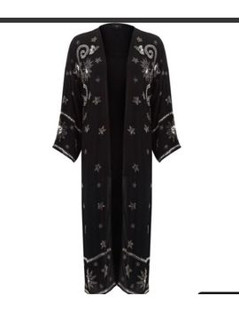 River Island Women's Black Sequin Embellished Longline Kimono Size 12 by River Island