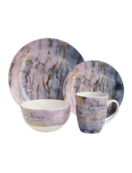 American Atelier 16pc Porcelain Marble Dinnerware Set by Shop All American Atelier