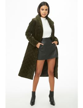 Quilted Velvet Coat by Forever 21