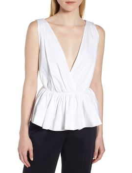 Tie Back Peplum Poplin Top by Lewit
