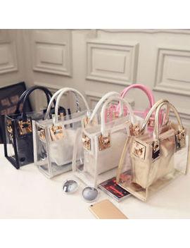 Women Transparent Handbag Shoulder Bag Clear Jelly Purse Clutch Plastic Tote by Unbranded