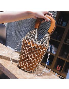 Women Straw Bag Fish Net Bucket Bag Handbag Leather Beach Flowerpot Shoulder Bag by Handmade