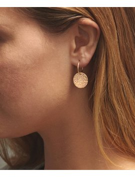 Simple Hammered Disk Endless Hoops Earrings • 14k Gold Fill, Sterling Silver, Rose Gold Fill • Everyday Earrings • Layered And Long • Le445 by Gld Nx Layered And Long
