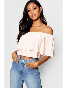 Slinky Double Layer Off The Shoulder Crop by Boohoo