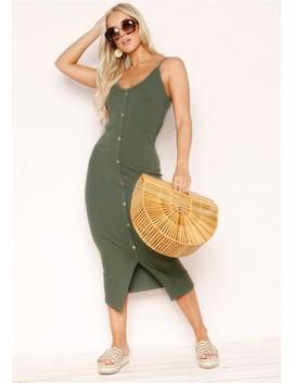 Julianne Khaki Ribbed Button Dress by Missy Empire