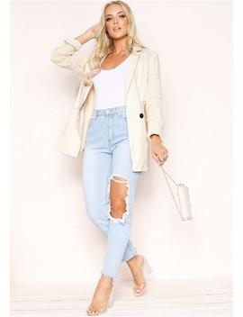 Judy Beige Linen Style Jacket by Missy Empire