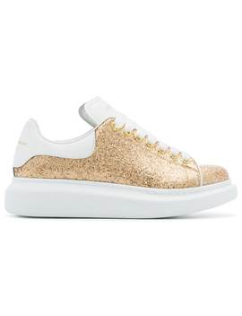 Alexander Mc Queengold Oversized Leather Glitter Sneakers by Alexander Mc Queen