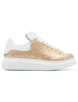 Alexander Mc Queengold Oversized Leather Glitter Sneakers by Alexander Mc Queen