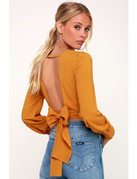 Brighten Your Day Golden Yellow Long Sleeve Backless Crop Top by Lulu's