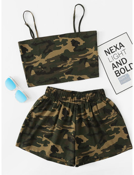 Plus Camouflage Cami Top And Shorts by Sheinside