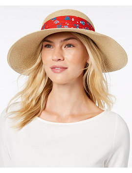 Packable Bow Scarf Floppy Sun Hat by Nine West
