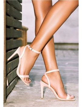 Karis Nude Studded Ankle Strap High Heels by Missy Empire