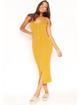 Julianne Mustard Ribbed Button Dress by Missy Empire