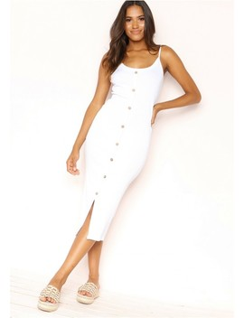 Julianne White Ribbed Button Dress by Missy Empire