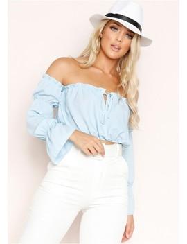 Holly Blue Bardot Chiffon Ruffle Hem Crop Top by Missy Empire