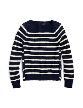 Vivian Stripe Crewneck Side Button Sweater by J.Crew