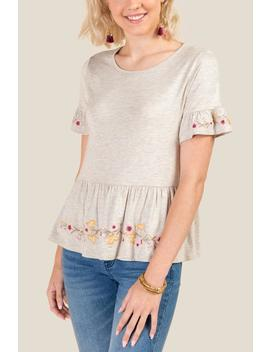 Karlee Floral Embroidered Peplum Top by Francesca's