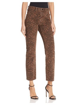 Cult Cropped Straight Jeans In Tan Leopard by T By Alexander Wang