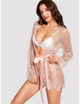 Eyelash Lace Robe With Thong And Belt by Sheinside