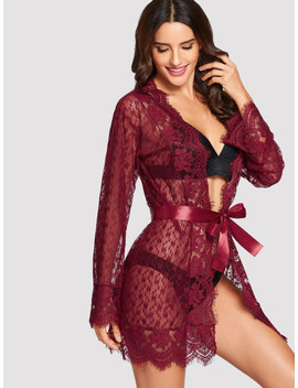 Eyelash Floral Lace Robe With Thong by Sheinside