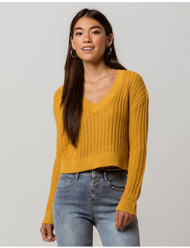 Sky And Sparrow V Neck Womens Crop Sweater by Sky And Sparrow