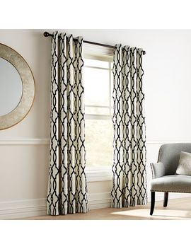 Flocked Trellis Black & White Grommet Curtain by Pier1 Imports