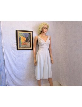 "40s 50s M 34"" Nylon Lingerie Slip Night Gown Nightie Pale Ice Blue by Weirdorama"