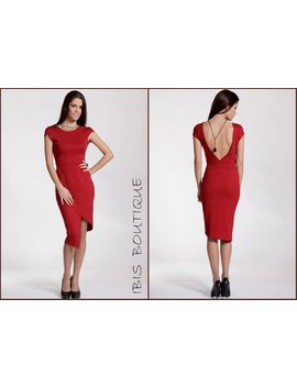 Red Woman Sexy Tube Dress, Backless Elegant Modern Design, Cocktail Party Dress, Valentines Day / Christmas, Plus / Large Sizes, Formal by Ibisboutique