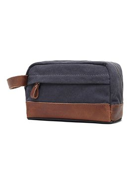 Vintage Leather Canvas Toiletry Bag Shaving Dopp Kit Cosmetic Makeup Bag For Men(Grey) by One Genug